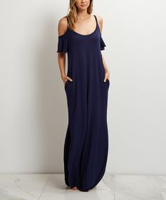 Look what I found on #zulily! PinkBlush Navy Blue Cold-Shoulder Maxi Dress by PinkBlush #zulilyfinds