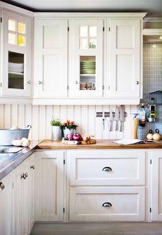 White kitchen, butcher block counters