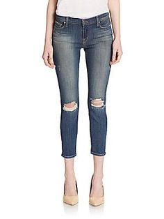 J BRAND Distressed Cropped Skinny Jeans - Misfit - Size