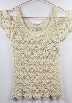 Shell and Open Shoulder Crochet Top