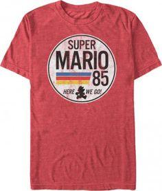 Mario t-shirt. cool tee shirts gaming super mario here we go Super Mario Brothers, Super Mario Bros, Super Nintendo, Nintendo Games, Video Game T Shirts, Mens Tees, Cool T Shirts, Tee Shirts, Chill