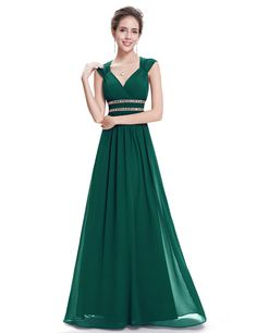 Green V neck prom dress. Long evening dress. Good choice for the party. #promdress