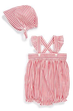 Burberry Stripe Overalls & Sun Hat (Baby Girls) | Nordstrom