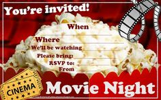 There are a few different movie night party invitations on this site  that are free and printable. So if you're not quite having a sleepover - a movie night is just as much fun and very exciting. Place two of these invites in a Word doc and print 2 to an A4 piece of paper - they are high resolution so should printnice and sharp. Then fill in the blanks with the details of your party such as time and date etc and rsvp contact info.