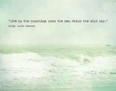 Beach Quote Ocean Photography Ralph Waldo Emerson Mint Green Teal Aqua Shabby Chic Beach Waves Seascape, 11 x 14 Fine Art Print. $35.00, via Etsy.