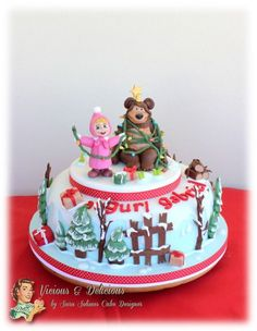 Masha and the bear Christmas time cake