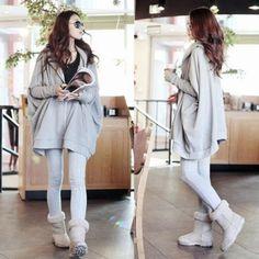 Korean Ladies Women Long Batwing Sleeve Hooded Loose Leisure Casual Solid Cardigan Hoodies Sweatershirt Gray