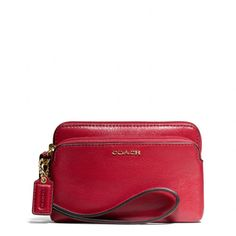 """Coral The Madison Double Zip Wristlet In Leather from Coach Ashley got this for me today! Just like the one I bought for her """"50th"""" birthday!"""