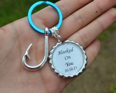 Couples Custom Anniversary Date Hooked On You KeyChain! Cute fishing hook! - Country girl, country boy,