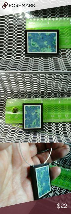 Amazonite  Gemstone,  Intarsia Frame  Pendant Fabulous  Amazonite Stone. Intarsia  (inlay work ) in Blue, Green. ..For Necklace  or pendant making. Other