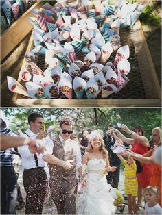 after the couple is introduced for the first time, everyone throws confetti as they walk down the isle! i really want to do this!
