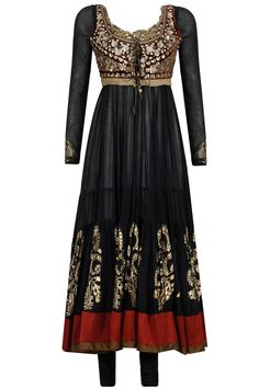 Black and maroon embroidered anarkali set with waistcoat available only at Pernia's Pop-Up Shop.