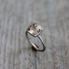 Morganite Ring in 14k White Gold Ring Brushed by onegarnetgirl, $898.00