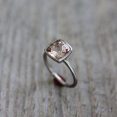 Morganite Ring in 14k White Gold Ring Brushed by onegarnetgirl, $898.00