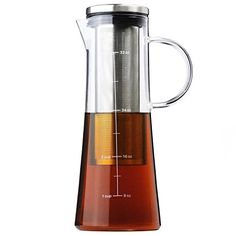 Cold Brew Coffee Maker Carafe & Iced Tea Infuser - Glass Carafe Pot with Removable Stainless Steel Filter Iced Coffee & Tea Maker - 1 Quart | 32 oz