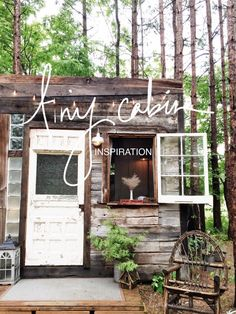 Didja hear the news? We built a teeny tiny cabin! Its so dang sexy! Im going to show you how to do it too. Because you deserve a sexy DIY cabin how-to. Cabine Diy, Diy Cabin, Shed Cabin, Build Your Own Shed, Tiny House Movement, Diy Shed, Building A Shed, Building Plans, Cabin Design