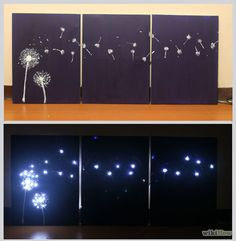 Design Three Panel, Light Up Dandelion Wall Art. Just need canvas, paint and Xmas lites!