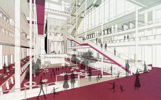 Presidents Medals: The Labrary: Imagining a Future Library for Civic Innovation Library Architecture, Architecture Collage, Architecture Graphics, Architecture Portfolio, Gothic Architecture, Concept Architecture, Architecture Design, Atrium Design, Future Library