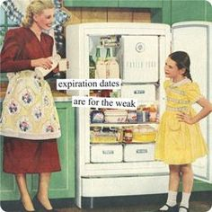 Expiration dates are for the weak The Best Of Anne Taintor Retro Humor For Your Sarcastic Soul Anne Taintor, Retro Humor, Vintage Humor, Funny Vintage, Retro Funny, Vintage Images, Vintage Art, Housewife Humor, Retro Housewife