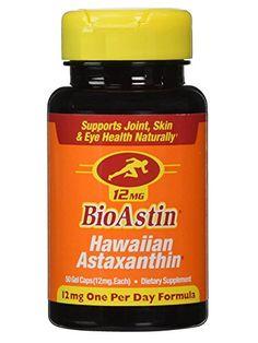 Nutrex Hawaii BioAstin Hawaiian Astaxanthin, 50 Gel Caps supply, 12mg Astaxanthin per Serving (One per Day Formula) Supports Skin, Eye and Cardiovascular Health *** See this great product.