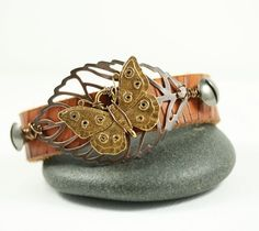 """Leather Cuff - Butterfly and Leaf """"Spring"""""""