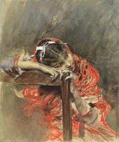 Giovanni Boldini (1842 — 1931, Italy) The girl is lost in thought . watercolor on paper. 30 × 24 cm.
