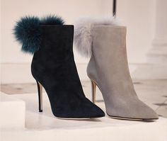 In black and moonstone suede, this season's TESLER ankle boots mix refined elegance and playfulness with furry pom poms and skinny stilettos. from closet Suede Booties, Ankle Booties, Bootie Boots, Shoe Boots, Women's Shoes, Jimmy Choo, Wedding Shoes Heels, Winter Shoes, Shoe Collection