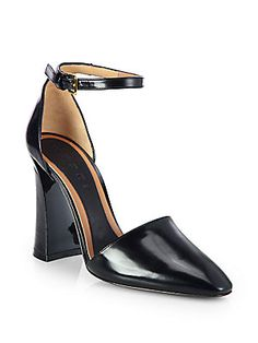 Marni Polished+Leather+Ankle-Strap+Pumps