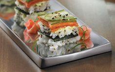 Smoked Salmon Sushi Squares - Philadelphia Roll w/smoked salmon, cucumber & cream cheese