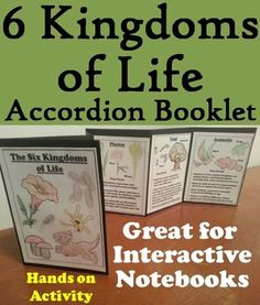 Six Kingdoms of Life Accordion Booklet: is a fun hands on activity for students to use in their interactive notebooks. Students may research different facts about each of the six kingdoms of life and write what they find on the provided blank lines. This booklet also doubles as a coloring book, as students may color in the different types of organisms.