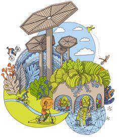 Illustration by Terhi Ekebom for Sponda's Annual Report, 2014 Finland Finland, Illustrations, Graphic Design, Artist, Fictional Characters, Illustration, Artists, Fantasy Characters, Visual Communication