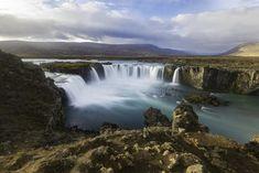 Godafoss Waterfalls Iceland Stock Photo - Image of island, beginning: 82119832 Creative Brochure, Waterfalls, Iceland, Awesome, Amazing, Environment, Stock Photos, Landscape, Nature