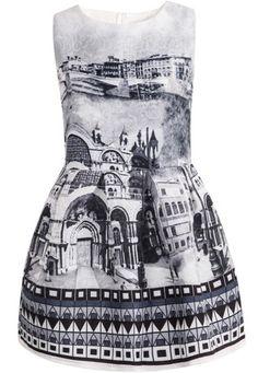 Grey Sleeveless Vintage Print Jacquard Dress