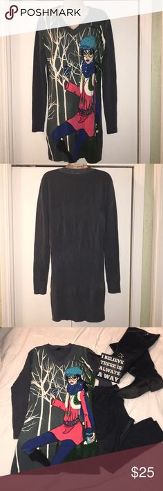 MEI YI YING LUN SWEATER DRESS Beautiful detailed sweater dress. Background color is gray. Material is 85% Acrylic and 15% Lycra. Measurements: 34in long and 19in across chest. This is cute with leggings and knee high boots! In excellent condition!! 1 of my favorites but does not fit anymore. Mei Yi Ying Lun Dresses