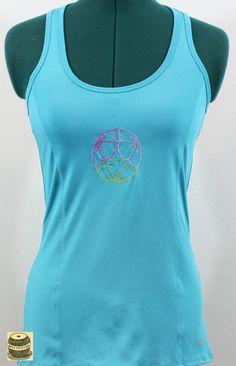 On Sale Turquoise razor back yoga shirt with embroidered lotus mandala design. Originally by Champion. Tags still on. $20.99 USD