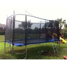 10x17 Rectangle Texas Star Trampoline with Enclosure. Shop now - free shipping! #trampoline
