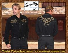 Scully Black With Gold Embroidered Stars And Scroll Sheriff's Shirt From Tribal And Western Impressions- Review off of: http://www.indianvillagemall.com/wshirts/p840.html