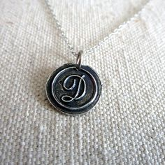 Letter D Necklace - Antique Wax Seal Initial D Necklace - Letter D Jewelry in fine silver