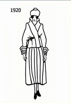 Costume history silhouettes 1920 1921 free line drawings - Manteau dessin ...