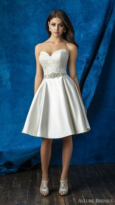 allure bridals 2016 mix match strapless scallop sweetheart neckline heavily embellished bodice satin short skirt knee length short wedding dress (a2001 top  and a2006 skirt) mv -- Allure Bridals Mix and Match Collection