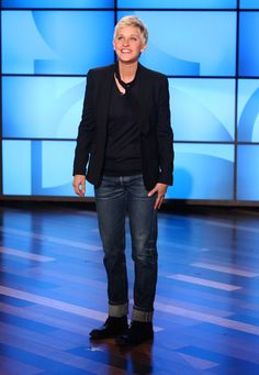 Ellen's Look of the Day: APC jeans, Prada sweater, and Lanvin tie, topped off with a Billy Reid Blazer. Boots by Yuji Yamamoto.