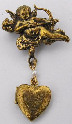 Vintage Victorian Cherub Scrolled Heart Locket Dangle Brooch Pin Faux Pearl #Unbranded