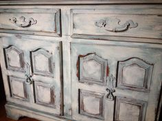 Antique Cabinet refinished in CeCe Caldwell Simply White, Custom Mix Color, & Dover White.https://www.facebook.com/Laparisiennevintagechic