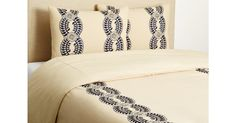 A floral vine motif, embroidered in navy, gives this natural-hued cotton duvet set an elegant touch. This durable, easy-to-care-for piece was hand-loomed at a family-owned mill in Jaipur,. Embroidered Bedding, Cotton Duvet, Duvet Sets, Bed & Bath, Luxury Furniture, Service Design, Home Accessories, Duvet Covers, Master Bedroom