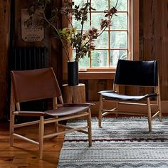 """Leather Sling Chair #westelm $799  26.8""""w x 25.8""""d x 30""""h. Covered in top-grain aniline leather. Solid wood frame in a Modern Oak finish."""
