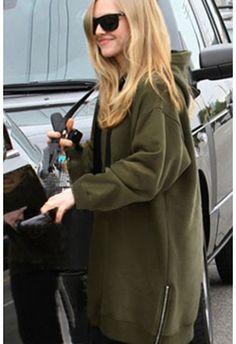Military Green Zipper Trim Drawstring Long Fleece Hoodie