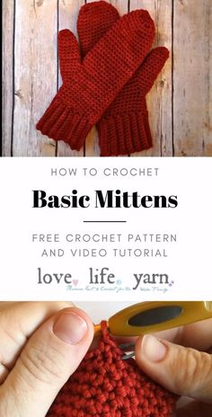 Crochet a wonderful gift this year with this free crochet pattern for women's basic mittens.  Includes full video tutorial to walk you through every step.  Even beginners have made their first pair of mittens with this pattern!  Don't be intimidated by mittens, this pattern makes it easy! Crochet Mittens Free Pattern, Crochet Cap, Crochet Gloves, Filet Crochet, Easy Crochet, Knitting Patterns, Crochet Patterns, Tutorial Crochet, Crochet Beanie