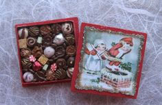 Dollhouse Miniature Christmas Box of Chocolates by TheSweetBaker, $12.00