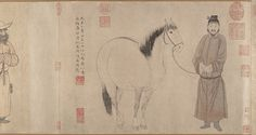 Grooms and Horses by Zhao Mengfu---(Chinese, 1254–1322) Date: date 1296 and 1359-------Medium: Handscroll; ink and color on paper