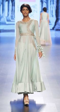Pale blue angrakha with silver embroidery on yoke by Anushree Reddy at Lakme Fashion Week Summer Resort 2016 Indian Gowns, Indian Attire, Indian Outfits, Indian Clothes, Ethnic Dress, Indian Ethnic Wear, Indian Designer Outfits, Designer Dresses, Indian Party Wear